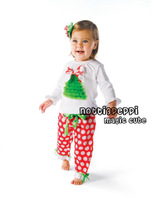 2012 magic cube children girl's 2 PC sets christmas tree t shirt and polka dot pants suit 100% cotton free shipping