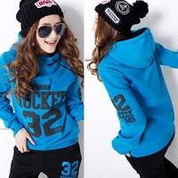 Женские толстовки и Кофты 2013 plus size loose casual long sweatshirt /Sportswear /Hoodies /sport pullover cotton clothing/ for women xxxxl