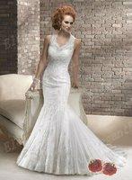 Trumpet Lace Open Back Wedding Dress Bride 2013 White Lace