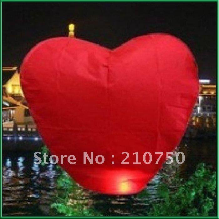 Hot sell 15%OFF 20PCS Red Heart Chinese Fire Sky Lanterns Wishing Balloon Birthday Wedding Christmas Party Lamp , FREE SHIPPING(China (Mainland))