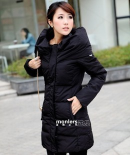 2012 women's fashion high quality slim turn-down collar medium-long down coat female(China (Mainland))