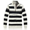 2013 new autumn casual winter men striped woolen blends turtleneck pullover cardigan polo jacket fashion sweater EW9832