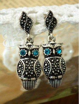 мода горячей продажи новое прибытие ретро элегантных женщин королевский синий горный хрусталь глаз e326 сова серьги