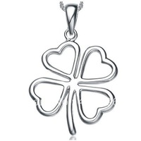 Free Shipping Min Order Is $50 (Mix Order) The Latest Top Hotsale 925Silver With Rhinestone Clover Necklace