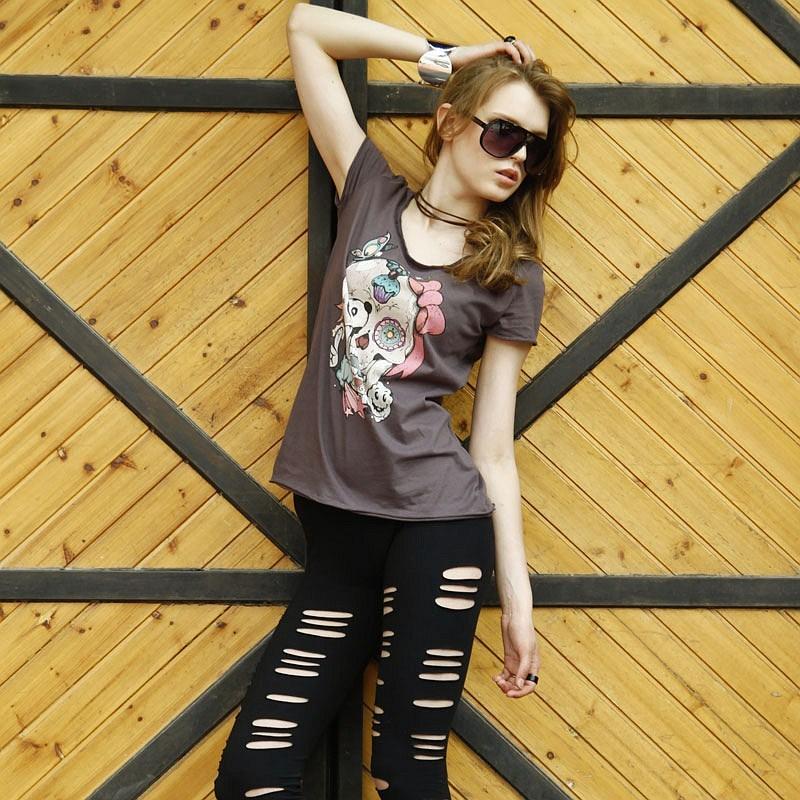Vancl VANCL t-shirt short-sleeve female 100% cotton nice skull 20800
