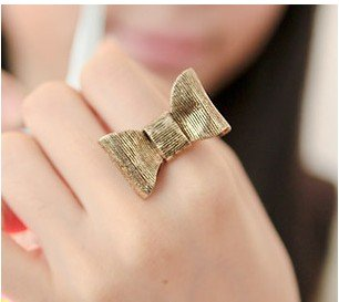 Fashion New Arrival Hot Sale Simply Bronze BowKnot Adjustable Ring R4