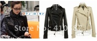 Free shipping/women clothing 2013/coats for woman/jackets women/denim jacket/PU leather jacket / rivets