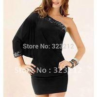 Hot sell Women short dress,one-sleeve Stretch shorts women,sequined decoration black dress N055