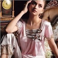 LZ nightwear fashion women summer Faux silk sleep set luxurious and noble lounge short-sleeve pajma set night home clothing 2508