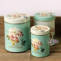 Free shipping New arrival hot-selling flowers set storage tank storage box zakka tin flower tin box 3pcs/lot