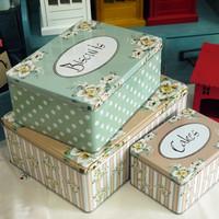 Big measurement fashion vintage  box storage tin candy box 3pcs/lot