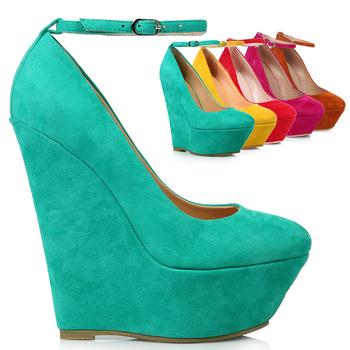 New arrival 2014 spring and autumn ultra high heels fashion wedges genuine leather sheepskin belt wedding shoes platform shoes