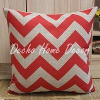 Wholesale Free Shipping 45cm*45cm Red Chevron Zig Zag Linen Cushion Cover