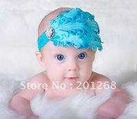 3pc/lot  baby headband baby blue pearl feather diamond rhinestone headband christmas headwear CPAM