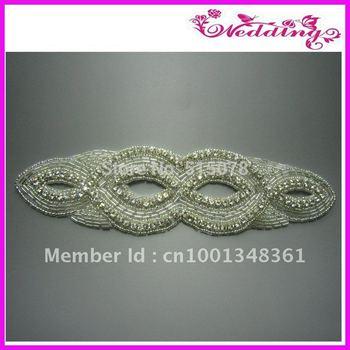 Bridal Rhinestone Sash, Beaded Applique Crystal Sash, Wedding Gown Accessory Belt, Couture Brides Belt Applique