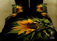 New Beautiful 4PC 100% Cotton Comforter Duvet Doona Cover Sets FULL / QUEEN / KING SIZE bedding set 4pcs black sunflower flowers