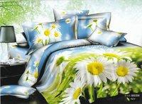 hot sale white sunflower fresh skyblue green hot sale duvet quilt covers sets 4pcs Full/Queen comforter bedding sets bedlinen