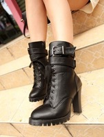 Newest women's shoes high-heeled platform martin buckle strap martin boots Black Brown US Size 4-8