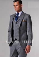 2013 Best Selling Accept Custom Made Suits Light Gray & Black Pinstripes Suits 3 Piece Men Suit Suits wear/party wearhand-made