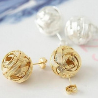 Sunshine store jewelry E49 J811kinitted spherical earrings free shipping(min order $10 mixed order)