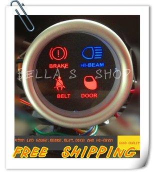 FREE SHIPPING 52MM LED AUTO  SIGNAL GAUGE BRAKE,DOOR,BELT,HI-BEAM PERFORMANCE METER