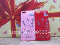 Free shipping,100pcs/lot Butterfly Flower back hard cover shell case for Iphone5 5G,Hard case for iPhone5 5G NEW !