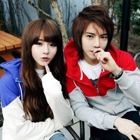 FreeShipping 2012 Autumn Casual Fashion Explosion Models Hot Hit Color Stitching Couple Hooded Sweater(S,M,L,XL4colors)