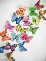 NEW 36PC MIXED 7CM DOUBLE WINGS WEDDING/HOME DECORATION 3D INSECTS BUTTERFLY wholesale /retail FREE SHIPPING