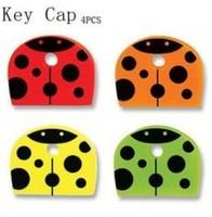 Retail 4pcs/set cute cartoon ladybug PVC key cover set (SX-189)