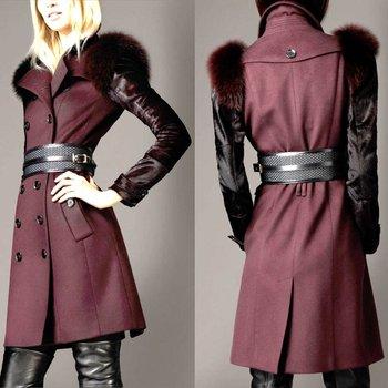 Горячие верхней одежды 2013 и пиджаки зима роскошные животных натуральный мех оригинальный пальто ветер лиса шуба ladies'trench ветер пальто
