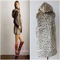 Fashion faux fur plush vest  hooded medium-long with large pocket leopard printing coat jacket ladies waistcoat