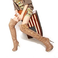 2013 winter ultra high heels rhinestone lacing high-leg  knee-length platform boots