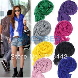 Holiday Sale Free Shipping Fashion Women&#39;s Long Crinkle Scarf Wraps Soft Shawl Stole Pure Color 8 Colors Hot sales 7589(China (Mainland))