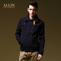 Allin autumn fashion men woolen button classic turn-down collar outerwear wt270 ,free shipping