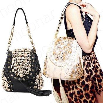 New Multi-use lady beading Backpack handbag stylish buttons Korean shoulder bag retro package B500