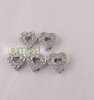 20pcs High quanlity Slider heart Crystal Rhinestone Beads Fit 8mm Belt Bracelet  free shipping