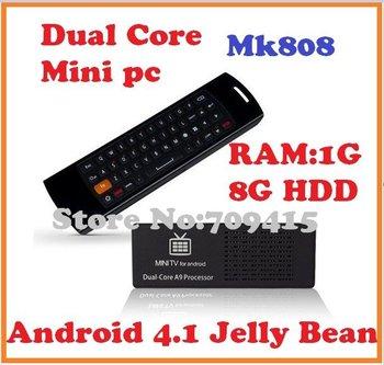 MK808 Mini PC Android TV Box RK3066 1.6GHz Cortex-A9 dual core RAM 1GB/8G HDD + Mele F10 Wireless keyboard Remote Controller