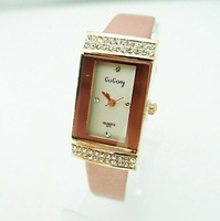 factory price 5 colors fashion high quality pink leather watch women dress watch fashion crystal quartz wrist watch BT050