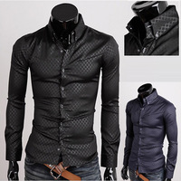 2013 New Arrival Fashion Men's Clothing fabric plaid male long-sleeve shirt 3 Color 5 Size free shipping