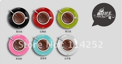Free shipping coffee time creative wall clock /plastic wall clock//gift clock/6 colors(China (Mainland))