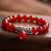 Handmade national trend fashion new arrival miao silver natural red agate bracelet accessories female 7493