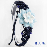 Sweets porcelain jewelry jingdezhen ceramic flower blue and white flower bracelet graceful and elegant bracelet