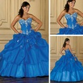 V Neck Blue Quinceanera Prom Dresses, Pleated and Beaded Homecoming Graduate Gowns - ZGR-019