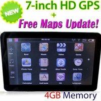 "Good quality 7 inch 7"" GPS CAR Navigation Touch Screen MTK 128M RAM Bluetooth AV-IN FM + 4GB Latest Maps"