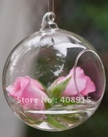 Glass Hanging Flower Vases Dia12cm Round with an Opening Round Bottom, for Planting & Decorating, 4pcs/ lot, free shipping
