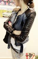 2012 women's clothing patchwork rivets blazer jacket  jean jackets for women denim outerwear wholesale and retail