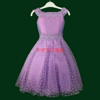 Children's dresses 2014 new arrival free shipping princess party wedding flower girl dress purple red wholesale&retail #B01
