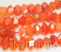 """8SE07982a   10x19mm Carnelian Faceted Nugget Beads 15"""""""