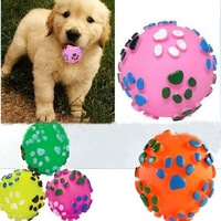 Dog sound toys ,multicolour spherical vinyl pet toy ball pet toy,color random