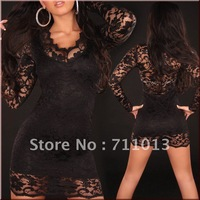 New arrival! Black V-neck slim long sleeve lace dress,sweet lace hollow splice sexy underwear 5410